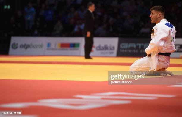 Johannes Frey reacts after the men's up to 100 kg body weight competition at the Judo Grand Prix in the Mitsubishi Electric Hall in Duesseldorf...