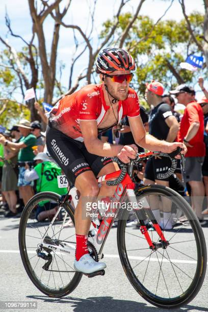 ADELAIDE AUSTRALIA JANUARY 20 Johannes Fröhlinger of Germany and Team Sunweb on the Old Willunga Hill climb during Stage 6 from McLaren Vale to...