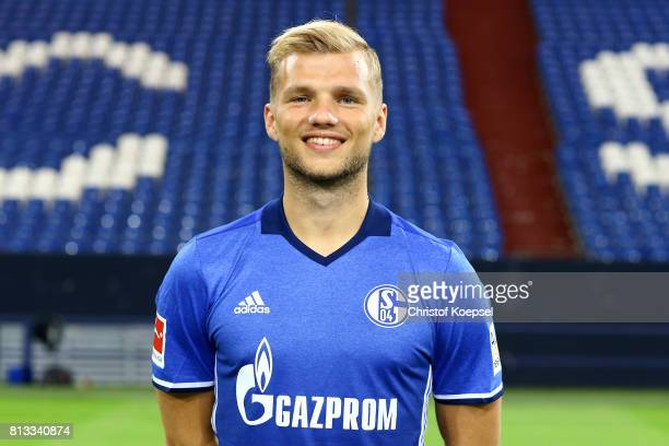 Johannes Geis of FC Schalke 04 poses during the team presentation at Veltins Arena on July 12 2017 in Gelsenkirchen Germany