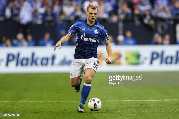 Johannes Geis of Schalke controls the ball during the Bundesliga match between FC Schalke 04 and FC Augsburg at VeltinsArena on March 12 2017 in...
