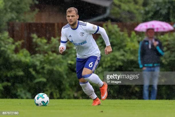 Johannes Geis of Schalke controls the ball during the preseason friendly match between FC Schalke 04 and Neftchi Baku on July 26 2017 in Neunkirchen...