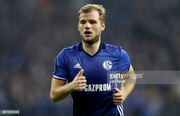 Johannes Geis of Schalke is seen during the UEFA Europa League Round of 16 first leg match between FC Schalke 04 and Borussia Moenchengladbach at...