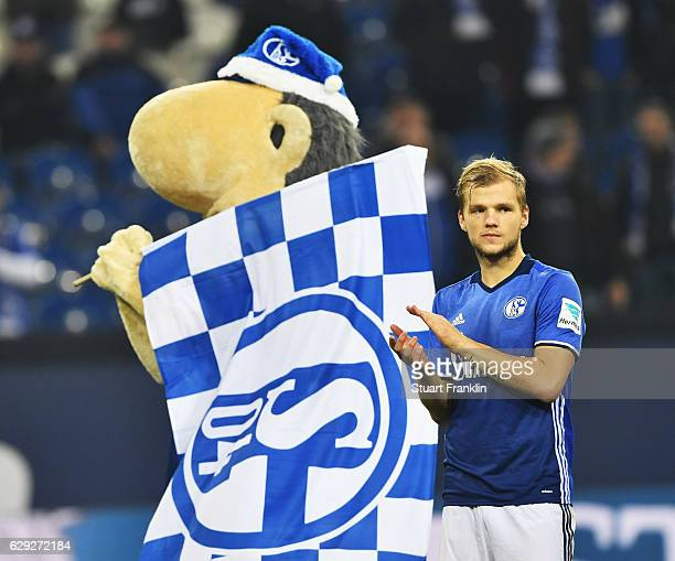 Johannes Geis of Schalke looks on during the Bundesliga match between FC Schalke 04 and Bayer 04 Leverkusen at VeltinsArena on December 11 2016 in...
