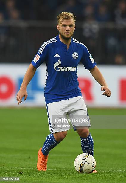 Johannes Geis of Schalke runs with the ball during the Bundesliga match between FC Schalke 04 and Hertha BSC Berlin at VeltinsArena on October 17...