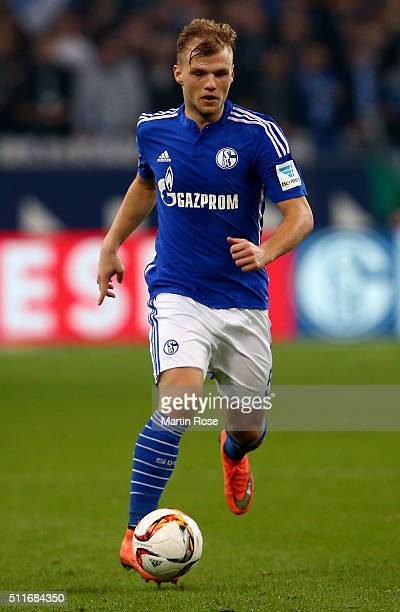 Johannes Geis of Schalke runs with the ball during the Bundesliga match between FC Schalke 04 and VfB Stuttgart at VeltinsArena on February 21 2016...