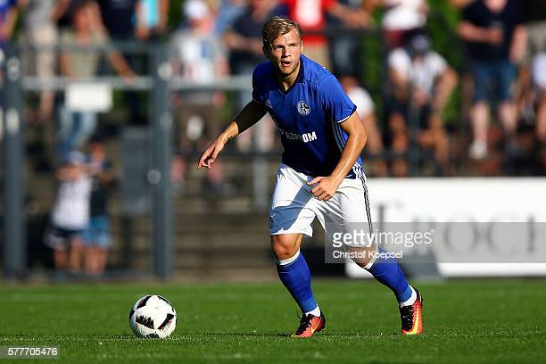 Johannes Geis of Schalke runs with the ball during the friendly match between DSC WanneEickel and FC Schalke 04 at Mondpalast Arena on July 19 2016...