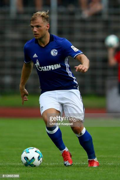 Johannes Geis of Schalke runs with the ball during the preseason friendly match between SpVgg Erkenschwick and FC Schalke 04 at Stimberg Stadium on...