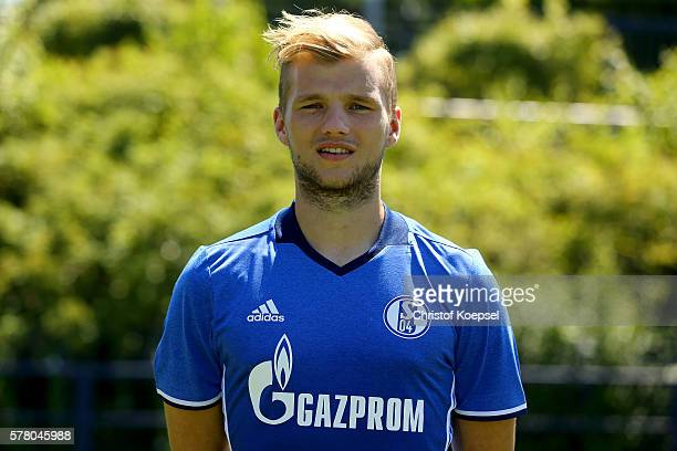 Johannes Geis poses during the team presentation of FC Schalke at Veltins Arena on July 20 2016 in Gelsenkirchen Germany