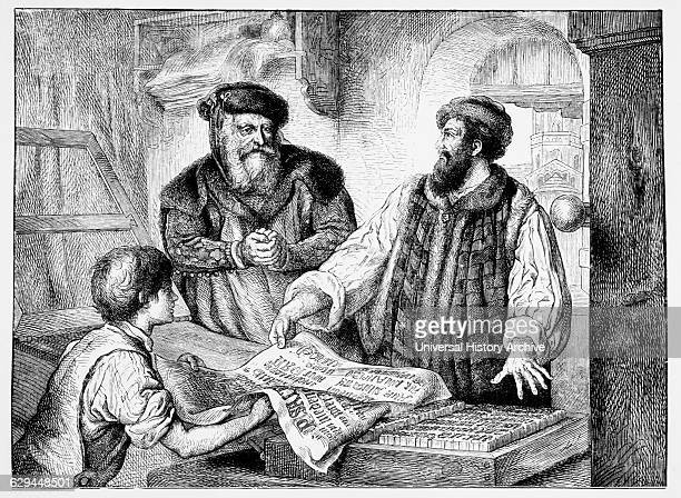 Johannes Gutenberg Examining First Proof from Printing Press 15th Century Engraving 1878