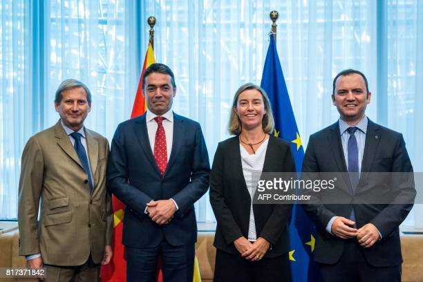 Johannes Hahn European Neighbourhood Policy and Enlargement Negotiations commissioner Nikola Dimitrov Foreign Minister of Macedonia Federica...
