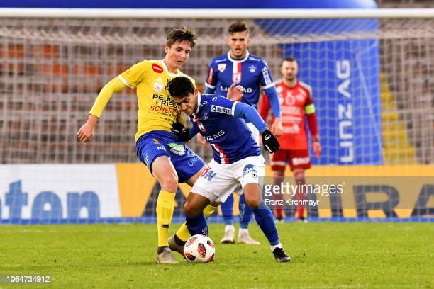 Johannes Handl of Lafnitz and Alan Lima Carius of FC Linz during the 2 Liga match between FC Blau Weiss Linz v SV Lafnitz at Stadion der Stadt Linz...