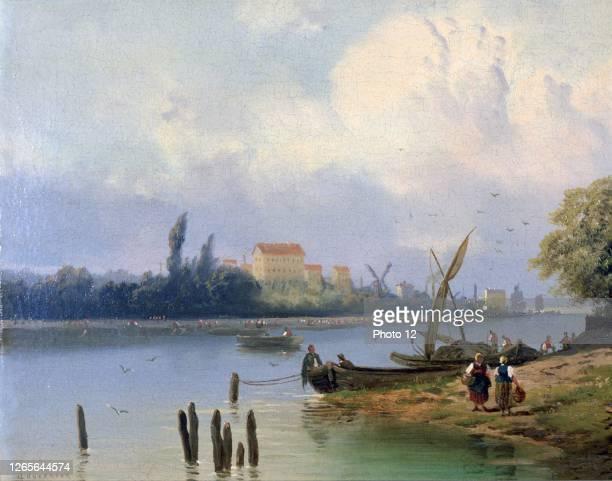 Johannes Hermanus Barend Koekkoek, Dutch school. People by the Boats in Holland. 19th century. Oil on canvas.