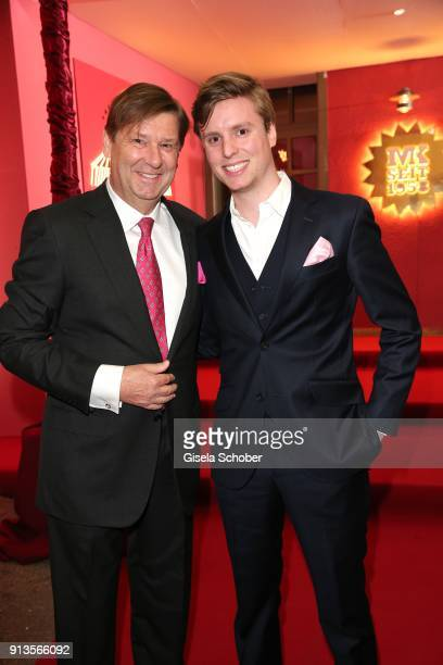 Johannes Heyne and his son Paul Heyne during Michael Kaefer's 60th birthday celebration at Postpalast on February 2 2018 in Munich Germany
