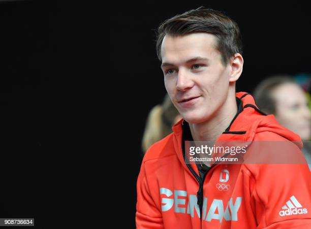 Johannes Hoepfl looks on during the 2018 PyeongChang Olympic Games German Team kit handover at Postpalast on January 22 2018 in Munich Germany