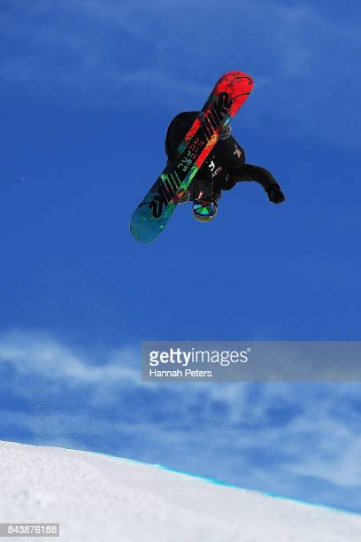 Johannes Hoepfl of Germany competes during the Winter Games NZ FIS Men's Snowboard World Cup Halfpipe Finals at Cardrona Alpine Resort on September 8...