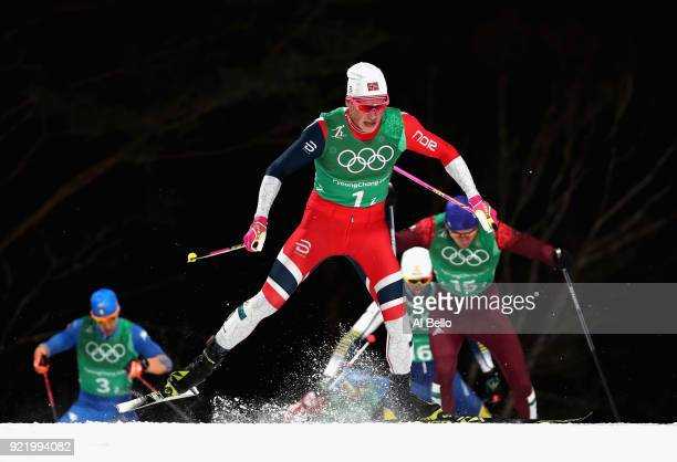 Johannes Hoesflat of Norway competes during the Cross Country Men's Team Sprint Free Final on day 12 of the PyeongChang 2018 Winter Olympic Games at...