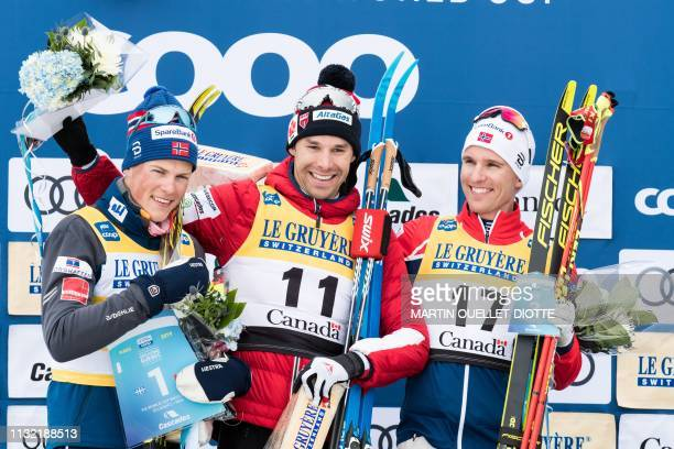 Johannes Hoesflot Klaebo from Norway celebrate his first place victory with Canadian Alex Harvey , who finished in second place. And fellow Norwegian...