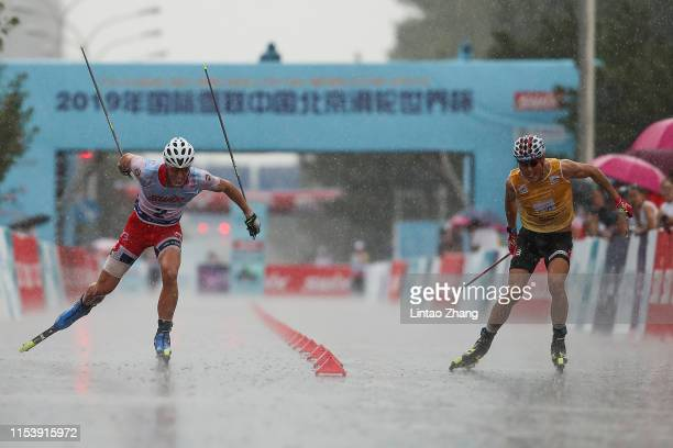 Johannes Hoesflot Klaebo of Norway and Ragnar Bragvin Andresen of Norway competes in the Men's 200m super Sprint final of 2019 FIS Rollerski World...