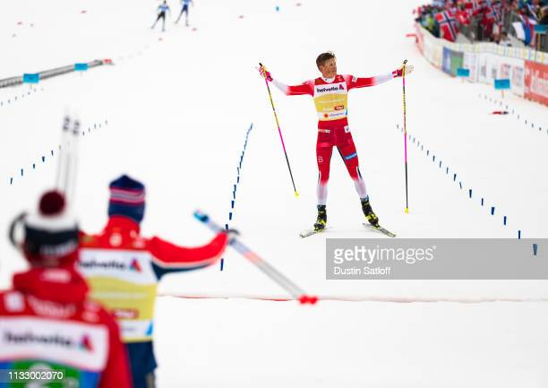 Johannes Hoesflot Klaebo of Norway approaches the finish line on his way to winning the Men's 4x10km Cross Country relay during the FIS Nordic World...