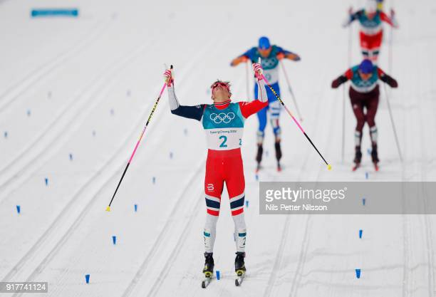 Johannes Hoesflot Klaebo of Norway celebrates after the victory during the Mens Individual Sprint Classic Finals on day four of the PyeongChang 2018...
