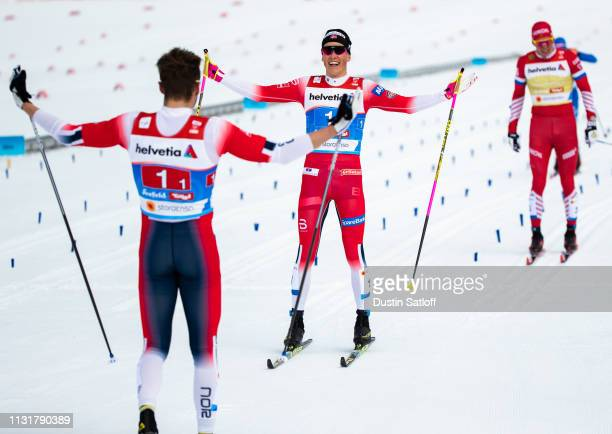 Johannes Hoesflot Klaebo of Norway celebrates as he crosses the finish line in first place in the Cross Country Men's Team Sprint race during the FIS...