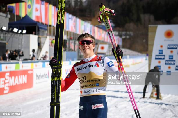 Johannes Hoesflot Klaebo of Norway celebrates following his victory in the Men's Cross Country SP C Final at the FIS Nordic World Ski Championships...