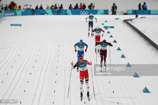 Johannes Hoesflot Klaebo of Norway celebrates winning gold during the CrossCountry Men's Sprint Classic Final on day four of the PyeongChang 2018...