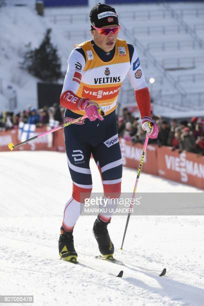Johannes Hoesflot Klaebo of Norway competes during the men' crosscountry skiing 15km classic style event of the FIS World Cup in Lahti Finland on...