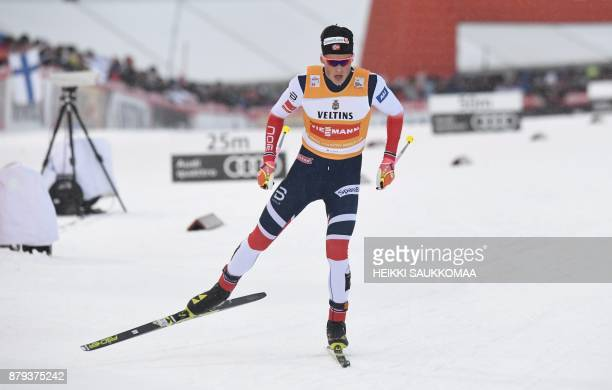 Johannes Hoesflot Klaebo of Norway competes to win the Men's cross country skiing 15km free style Pursuit competition of the FIS World Cup Ruka...