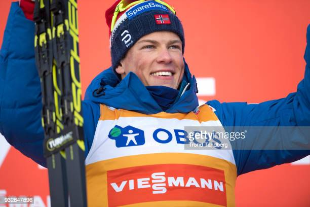 Johannes Hoesflot Klaebo of Norway during flower ceremony after Sprint men free at Lugnet Stadium on March 16 2018 in Falun Sweden