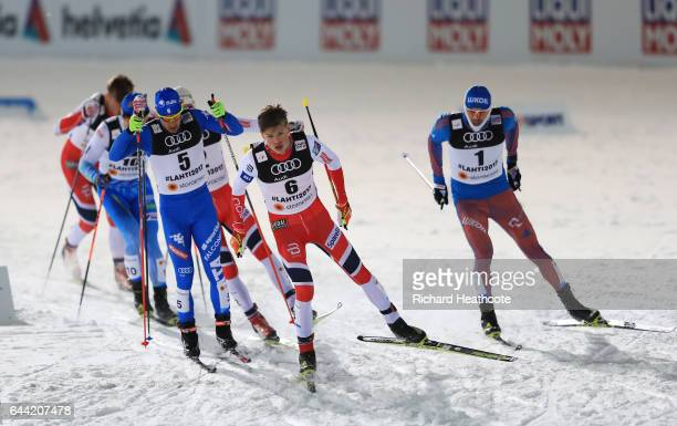 Johannes Hoesflot Klaebo of Norway leads the Men's 1.6KM Cross Country Sprint final during the FIS Nordic World Ski Championships on February 23,...