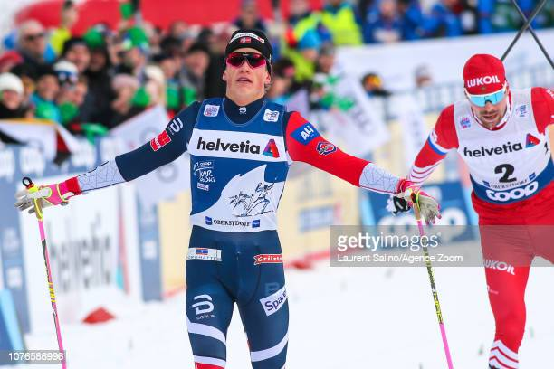 Johannes Hoesflot Klaebo of Norway takes 1st place during the FIS Nordic World Cup Men's and Women's Cross Country Pursuit on January 3 2019 in...
