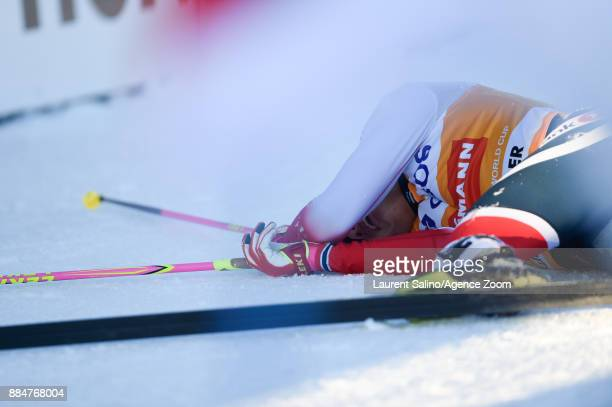 Johannes Hoesflot Klaebo of Norway takes 1st place during the FIS Nordic World Cup Men's and Women's Cross Country Skiathlon on December 3 2017 in...