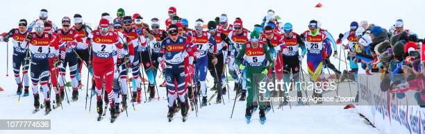 Johannes Hoesflot Klaebo of Norway takes 1st place Francesco De Fabiani of Italy takes 2nd place Sergey Ustiugov of Russia competes Simen Hegstad...