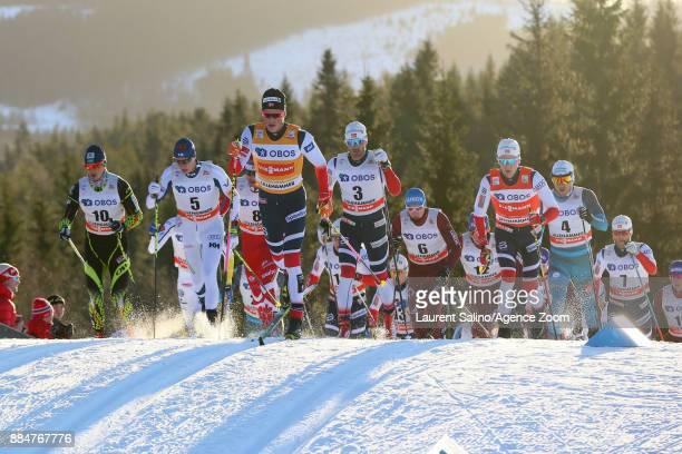Johannes Hoesflot Klaebo of Norway takes 1st place Hans Christer Holund of Norway takes 3rd place Alexey Poltoranin of Kazakhstan competes Martin...