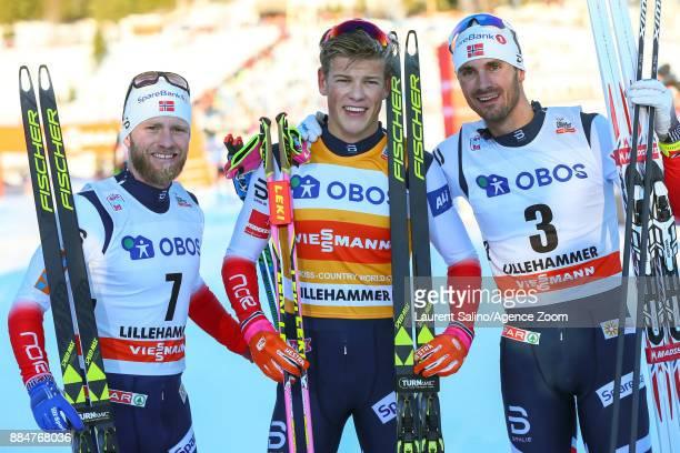 Johannes Hoesflot Klaebo of Norway takes 1st place Martin Johnsrud Sundby of Norway takes 2nd place Hans Christer Holund of Norway takes 3rd place...
