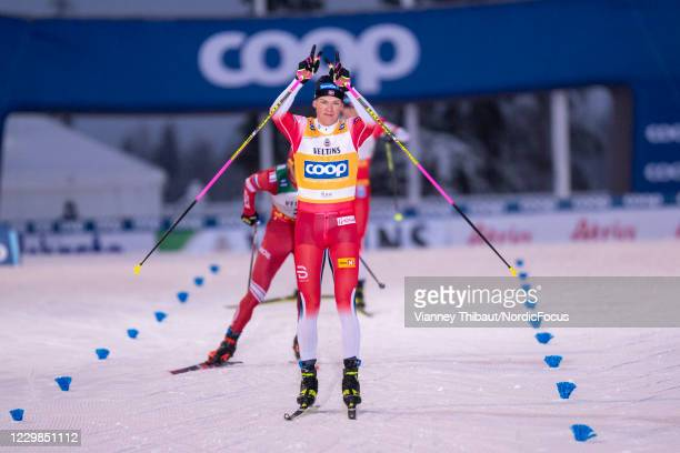 Johannes Hoesflot Klaebo of Norway takes first place during the Men's 15km F Pursuit at the Coop FIS Cross-Country Stage World Cup Ruka on November...
