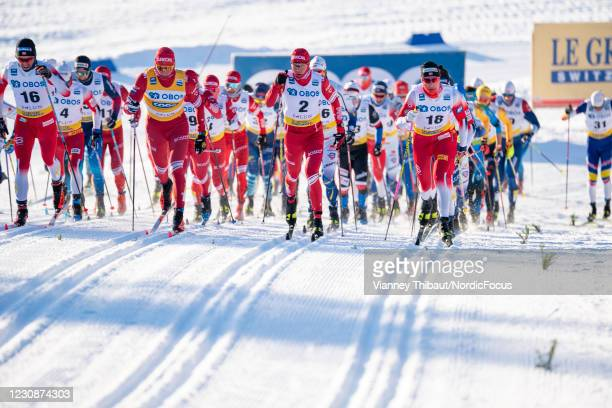 Johannes Hoesflot Klaebo of Norway takes second place during the Men's 15km C at the Coop FIS Cross-Country World Cup Falun at on January 30, 2021 in...
