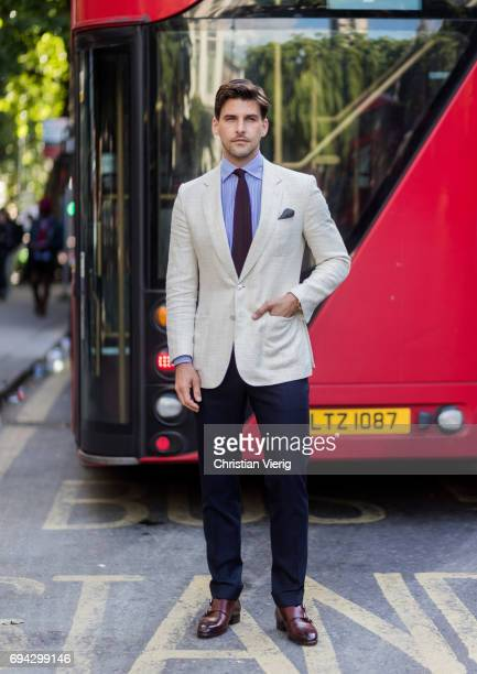 Johannes Huebel during the London Fashion Week Men's June 2017 collections on June 9 2017 in London England