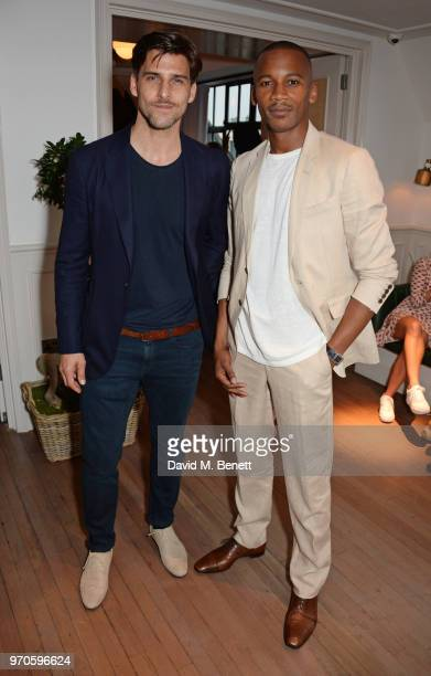 Johannes Huebl and Eric Underwood attend the London Fashion Week Men's cocktail party with DANIEL w FLETCHER and Christian Louboutin at Mortimer...