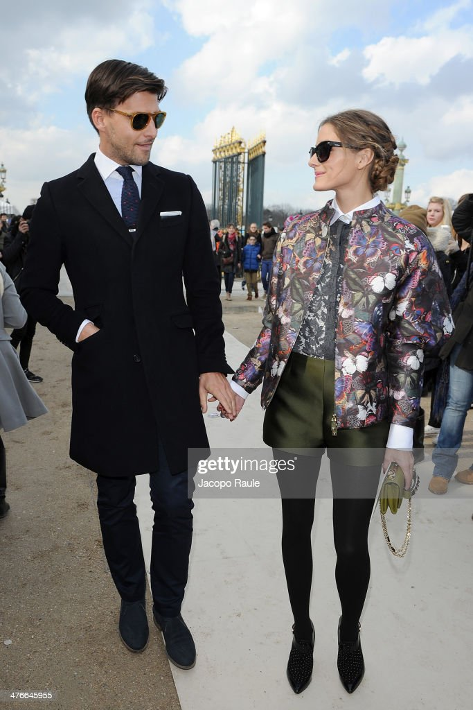 Johannes Huebl and Olivia Palermo arrive at the Valentino show as part of the Paris Fashion Week Womenswear Fall/Winter 2014-2015 on March 4, 2014 in Paris, France.