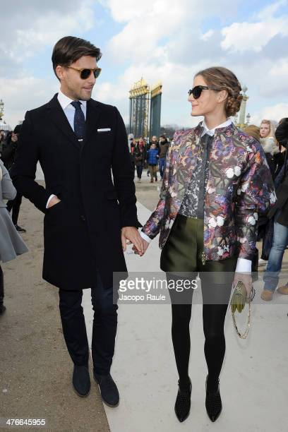 Johannes Huebl and Olivia Palermo arrive at the Valentino show as part of the Paris Fashion Week Womenswear Fall/Winter 20142015 on March 4 2014 in...