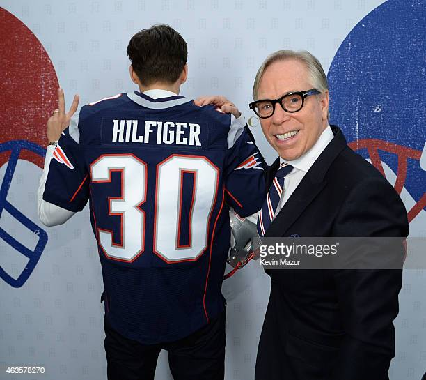 Johannes Huebl and Tommy Hilfiger backstage at Tommy Hilfiger Women's Collection during MercedesBenz Fashion Week Fall 2015 at Park Avenue Armory on...