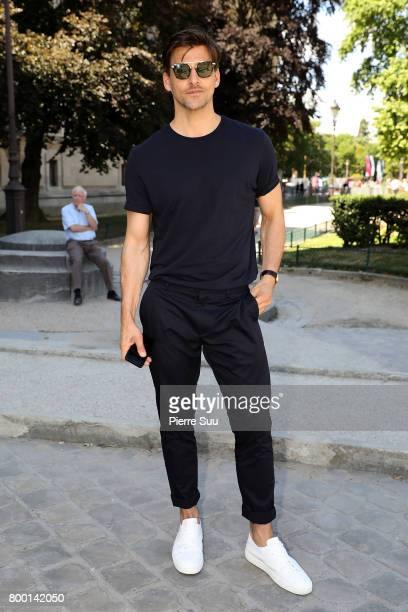 Johannes Huebl arrives at the Cerruti Menswear Spring/Summer 2018 show as part of Paris Fashion Week on June 23 2017 in Paris France