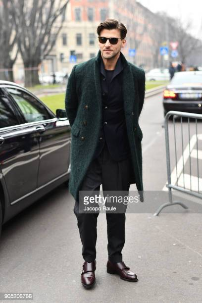 Johannes Huebl arrives at the Giorgio Armani show during Milan Men's Fashion Week Fall/Winter 2018/19 on January 15 2018 in Milan Italy