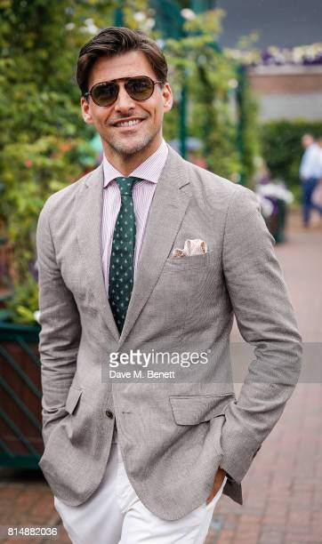 Johannes Huebl arrives at Wimbledon on July 15 2017 in London England