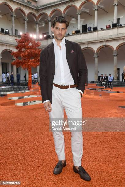 Johannes Huebl attends the Ermenegildo Zegna show during Milan Men's Fashion Week Spring/Summer 2018 on June 16 2017 in Milan Italy