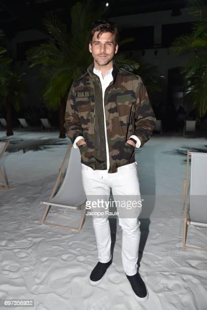 Johannes Huebl attends the Moncler Gamme Bleu show during Milan Men's Fashion Week Spring/Summer 2018 on June 18 2017 in Milan Italy