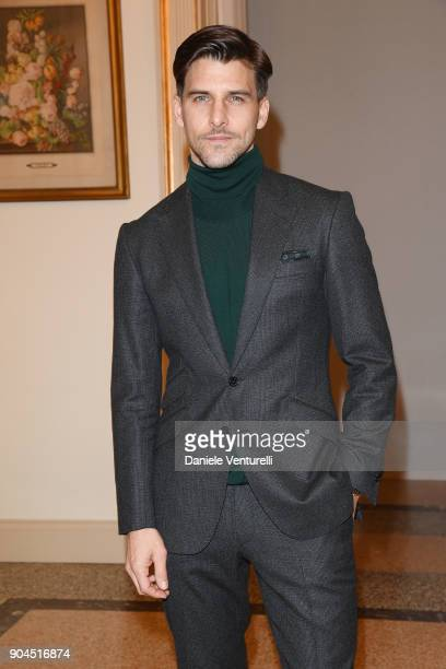 Johannes Huebl attends the Versace show during Milan Men's Fashion Week Fall/Winter 2018/19 on January 13 2018 in Milan Italy