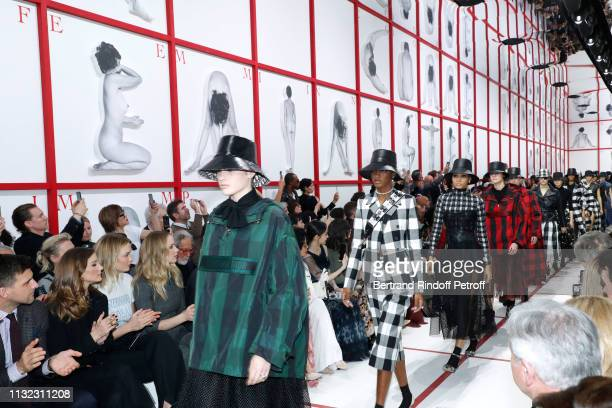 Johannes Huebl his wife Olivia Palermo Karlie Kloss and Jennifer Lawrence attend the Christian Dior show as part of the Paris Fashion Week Womenswear...
